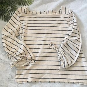 Anthropologie Postmark striped cinched sleeve top